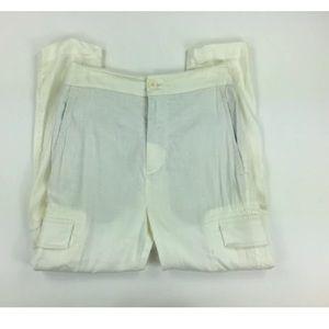 Vince XS White Cargo Linen Pants